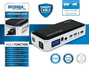 Bosma 5288 Car Power Bank Jump Starter 12V 600A 18AH